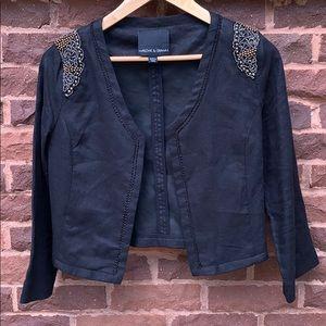📌  Harlowe & Graham Black Linen Beaded Jacket